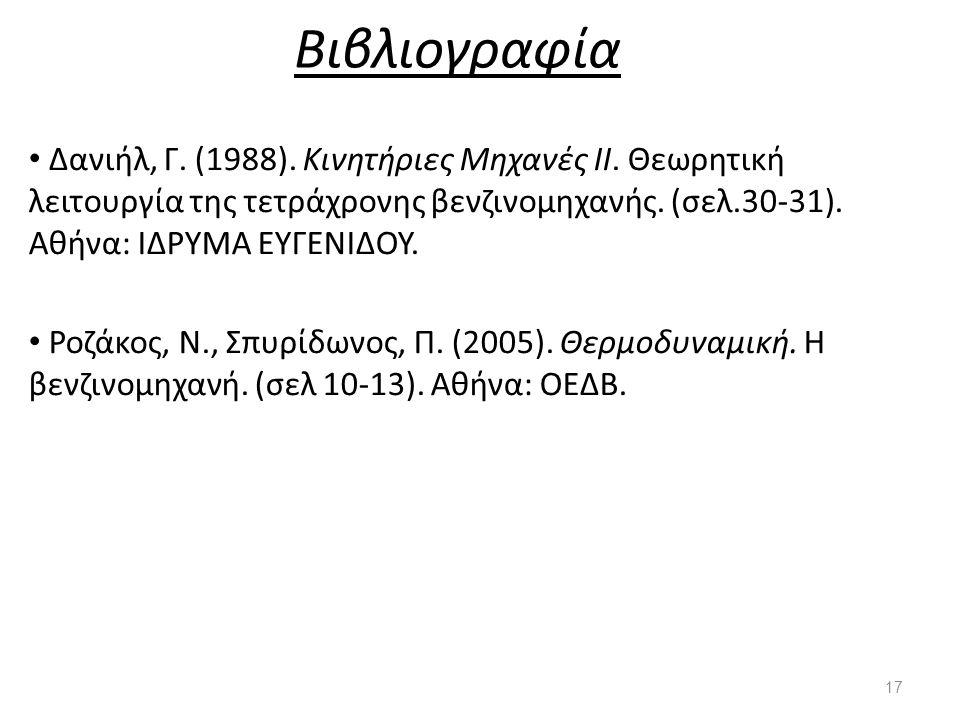 Βιβλιογραφία Δανιήλ, Γ. (1988). Κινητήριες Μηχανές ΙΙ. Θεωρητική λειτουργία της τετράχρονης βενζινομηχανής. (σελ.30-31). Αθήνα: ΙΔΡΥΜΑ ΕΥΓΕΝΙΔΟΥ. Ροζά