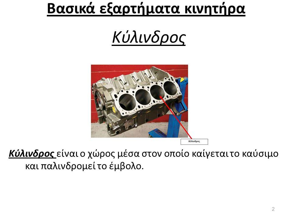 Βασικά εξαρτήματα κινητήρα Κύλινδρος Κύλινδρος είναι ο χώρος μέσα στον οποίο καίγεται το καύσιμο και παλινδρομεί το έμβολο. 2