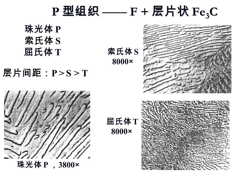 P 型组织 —— F + 层片状 Fe 3 C 珠光体 P 索氏体 S 屈氏体 T 层片间距: P > S > T 珠光体 P , 3800× 索氏体 S 8000× 屈氏体 T 8000×