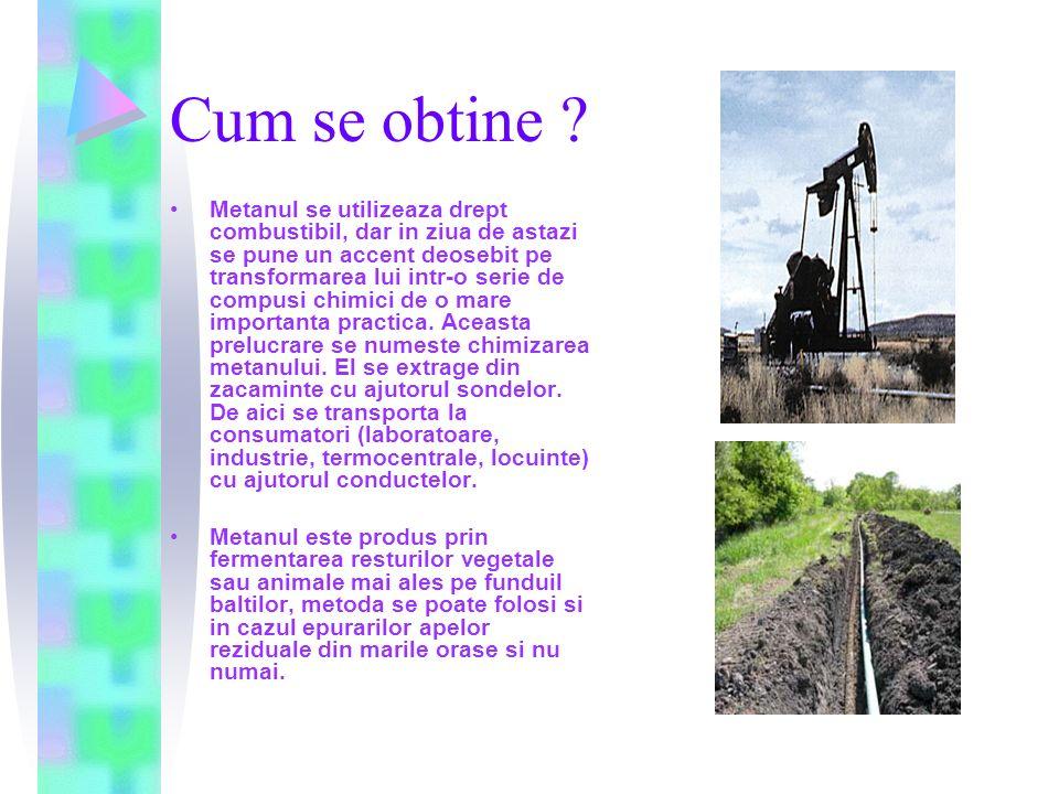 Proprietati : Fizice : Metanul este un gaz incolor, mai usor decat aerul, insolubil in apa, solubil in alcool, eter, benzen.