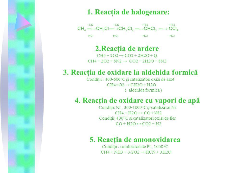 1. Reacţia de halogenare: +Cl 2 +Cl 2 +Cl 2 +Cl 2 CH 4 —→CH 3 Cl —→CH 2 Cl 2 —→CHCl 3 —→ CCl 4 -HCl -HCl -HCl -HCl 2.Reacţia de ardere CH4 + 2O2 → CO2