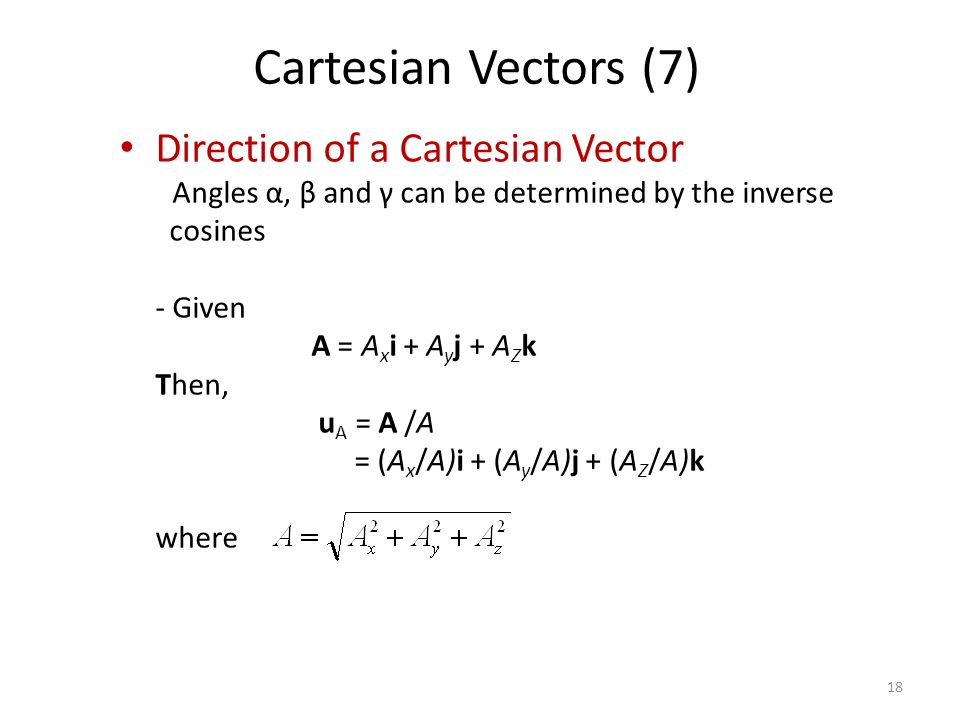 Direction of a Cartesian Vector - Angles α, β and γ can be determined by the inverse cosines - Given A = A x i + A y j + A Z k Then, u A = A /A = (A x