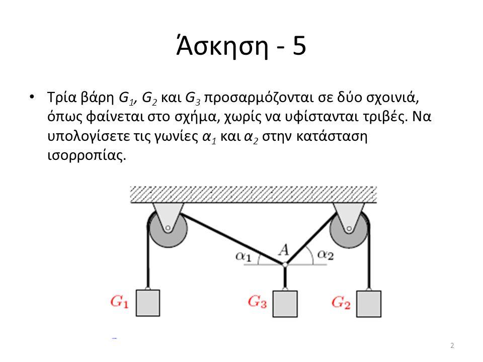 Άσκηση - 5 Τρία βάρη G 1, G 2 και G 3 προσαρμόζονται σε δύο σχοινιά, όπως φαίνεται στο σχήμα, χωρίς να υφίστανται τριβές. Να υπολογίσετε τις γωνίες α