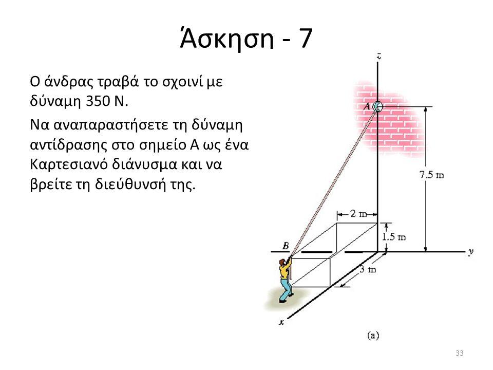 Άσκηση - 7 Ο άνδρας τραβά το σχοινί με δύναμη 350 Ν. Να αναπαραστήσετε τη δύναμη αντίδρασης στο σημείο Α ως ένα Καρτεσιανό διάνυσμα και να βρείτε τη δ