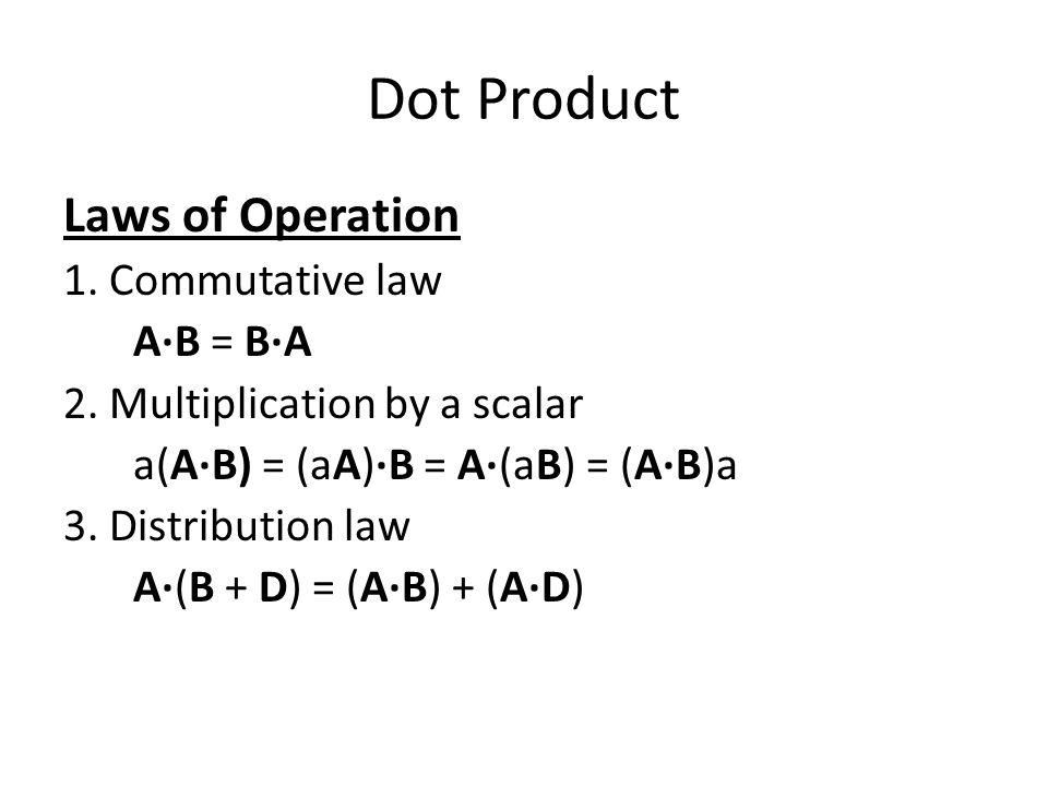 Laws of Operation 1. Commutative law A·B = B·A 2. Multiplication by a scalar a(A·B) = (aA)·B = A·(aB) = (A·B)a 3. Distribution law A·(B + D) = (A·B) +