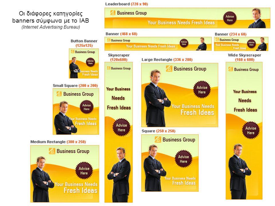 Οι διάφορες κατηγορίες banners σύμφωνα με το ΙΑΒ (Internet Advertising Bureau)