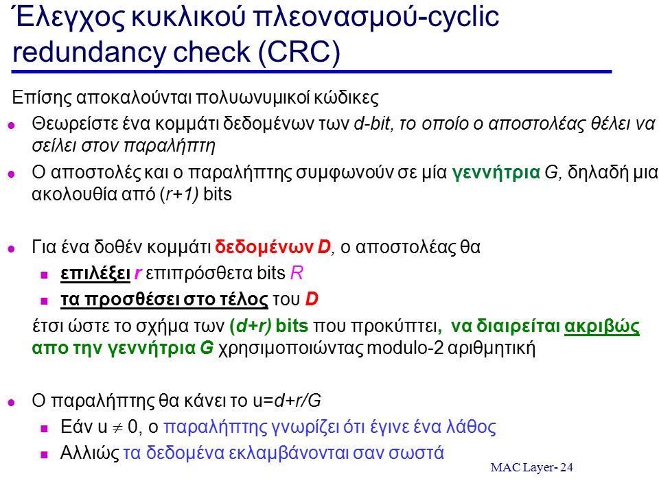 MAC Layer- 24 Έλεγχος κυκλικού πλεονασμού-cyclic redundancy check (CRC) Επίσης αποκαλούνται πολυωνυμικοί κώδικες Θεωρείστε ένα κομμάτι δεδομένων των d