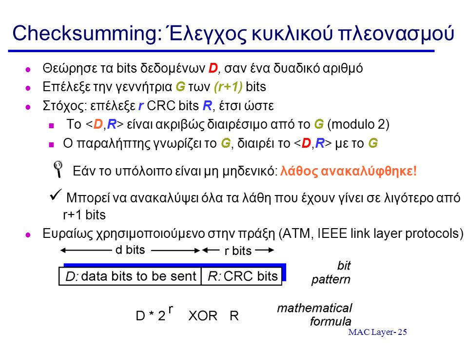 MAC Layer- 25 Checksumming: Έλεγχος κυκλικού πλεονασμού Θεώρησε τα bits δεδομένων D, σαν ένα δυαδικό αριθμό Επέλεξε την γεννήτρια G των (r+1) bits Στό