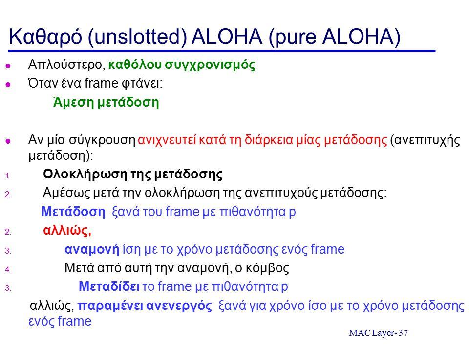 MAC Layer- 37 Καθαρό (unslotted) ALOHA (pure ALOHA) Απλούστερο, καθόλου συγχρονισμός Όταν ένα frame φτάνει: Άμεση μετάδοση Αν μία σύγκρουση ανιχνευτεί