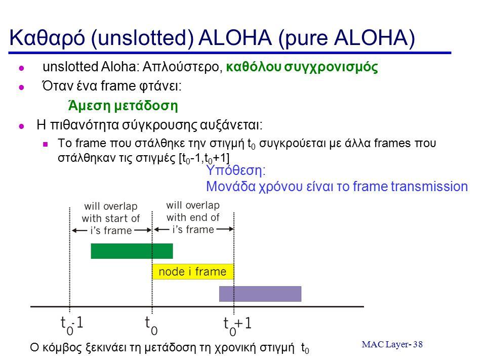MAC Layer- 38 Καθαρό (unslotted) ALOHA (pure ALOHA) unslotted Aloha: Απλούστερο, καθόλου συγχρονισμός Όταν ένα frame φτάνει: Άμεση μετάδοση Η πιθανότητα σύγκρουσης αυξάνεται: Το frame που στάλθηκε την στιγμή t 0 συγκρούεται με άλλα frames που στάλθηκαν τις στιγμές [t 0 -1,t 0 +1] Ο κόμβος ξεκινάει τη μετάδοση τη χρονική στιγμή t 0 Υπόθεση: Μονάδα χρόνου είναι το frame transmission