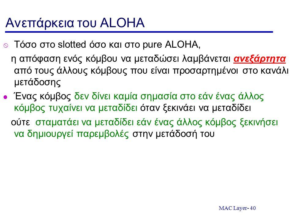 MAC Layer- 40 Ανεπάρκεια του ALOHA  Τόσο στο slotted όσο και στο pure ALOHA, η απόφαση ενός κόμβου να μεταδώσει λαμβάνεται ανεξάρτητα από τους άλλους