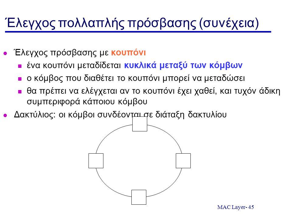 MAC Layer- 45 Έλεγχος πολλαπλής πρόσβασης (συνέχεια) Έλεγχος πρόσβασης με κουπόνι ένα κουπόνι μεταδίδεται κυκλικά μεταξύ των κόμβων ο κόμβος που διαθέ