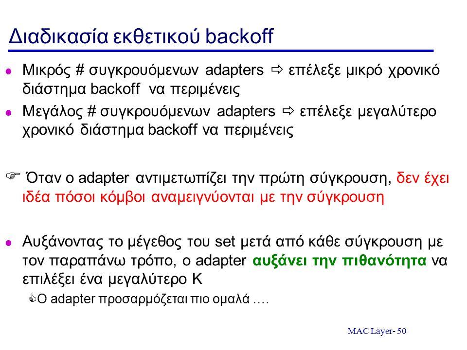 MAC Layer- 50 Διαδικασία εκθετικού backoff Μικρός # συγκρουόμενων adapters  επέλεξε μικρό χρονικό διάστημα backoff να περιμένεις Μεγάλος # συγκρουόμε