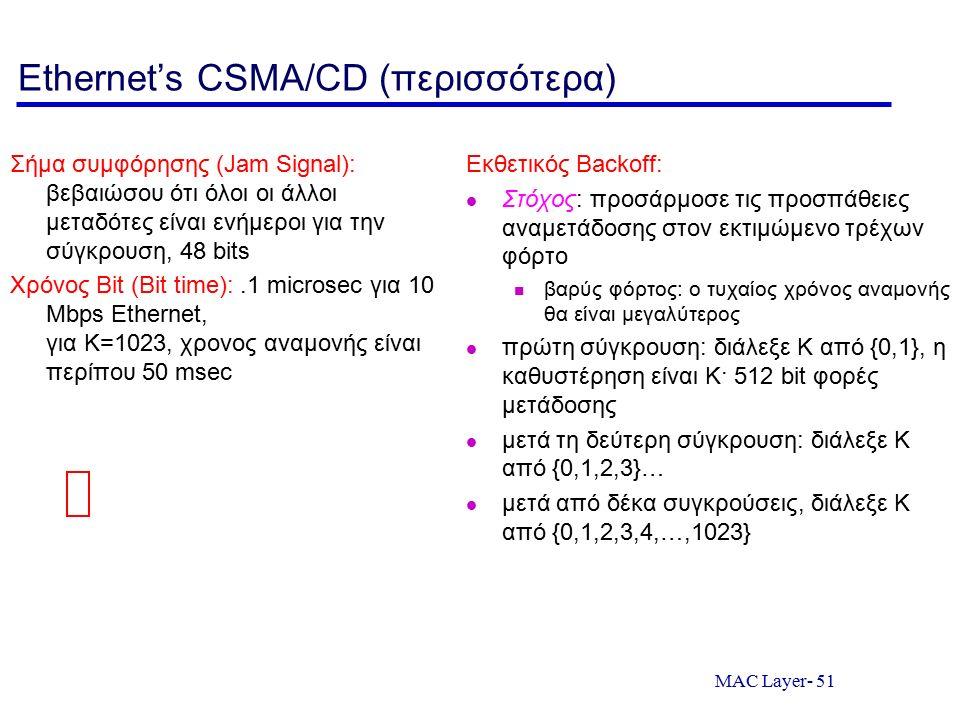 MAC Layer- 51 Ethernet's CSMA/CD (περισσότερα) Σήμα συμφόρησης (Jam Signal): βεβαιώσου ότι όλοι οι άλλοι μεταδότες είναι ενήμεροι για την σύγκρουση, 4