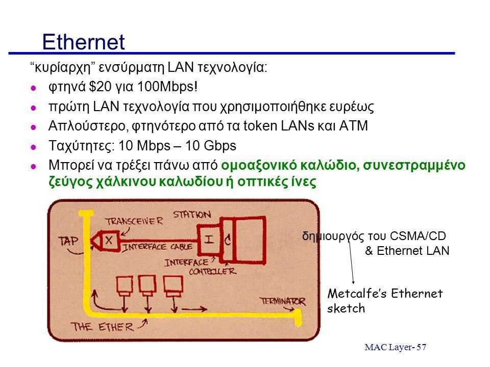 "MAC Layer- 57 Ethernet ""κυρίαρχη"" ενσύρματη LAN τεχνολογία: φτηνά $20 για 100Mbps! πρώτη LAN τεχνολογία που χρησιμοποιήθηκε ευρέως Απλούστερο, φτηνότε"