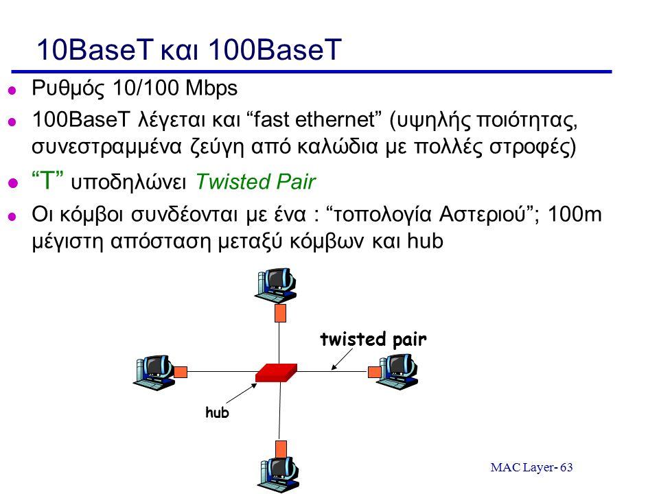 "MAC Layer- 63 10BaseT και 100BaseT Ρυθμός 10/100 Mbps 100BaseT λέγεται και ""fast ethernet"" (υψηλής ποιότητας, συνεστραμμένα ζεύγη από καλώδια με πολλέ"