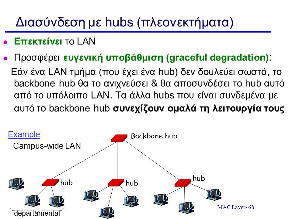 MAC Layer- 68 Διασύνδεση με hubs (πλεονεκτήματα) Επεκτείνει το LAN Προσφέρει ευγενική υποβάθμιση (graceful degradation) : Εάν ένα LAN τμήμα (που έχει ένα hub) δεν δουλεύει σωστά, το backbone hub θα το ανιχνεύσει & θα αποσυνδέσει το hub αυτό από το υπόλοιπο LAN.