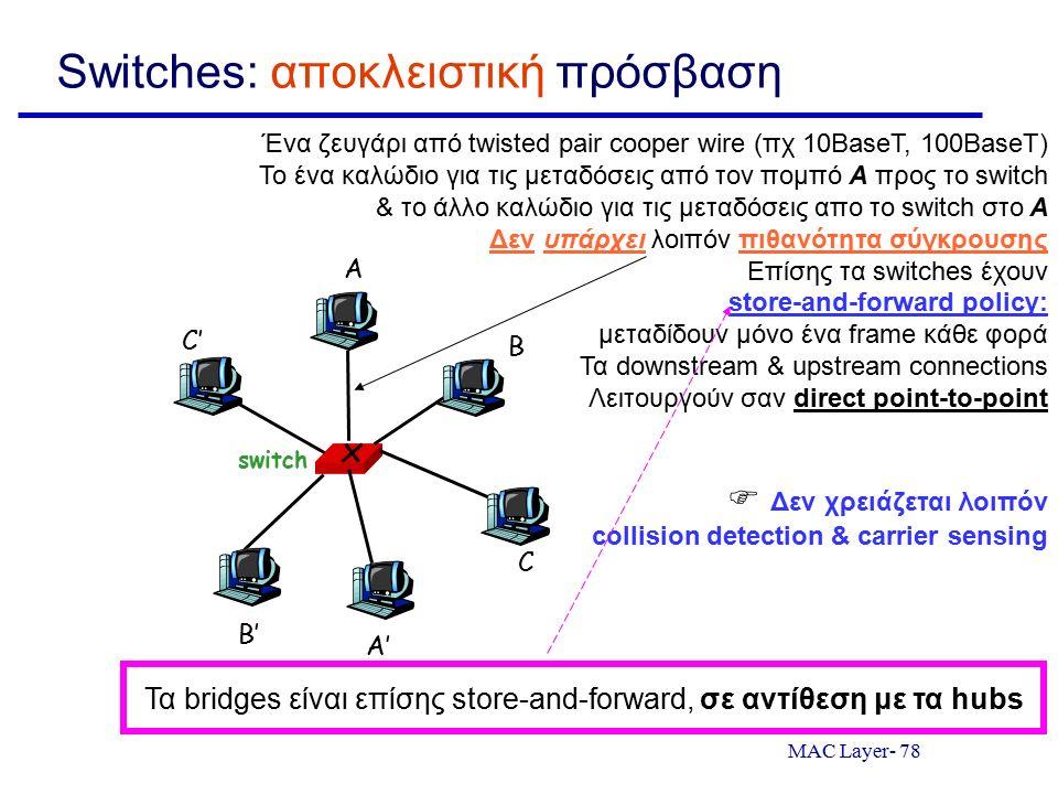MAC Layer- 78 Switches: αποκλειστική πρόσβαση switch A A' B B' C C' Ένα ζευγάρι από twisted pair cooper wire (πχ 10BaseT, 100BaseT) Το ένα καλώδιο για