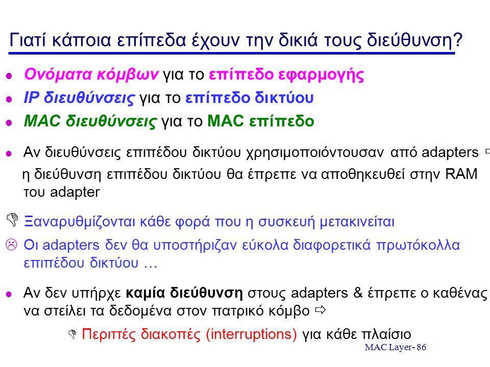 MAC Layer- 86 Γιατί κάποια επίπεδα έχουν την δικιά τους διεύθυνση? Ονόματα κόμβων για το επίπεδο εφαρμογής IP διευθύνσεις για το επίπεδο δικτύου MAC δ