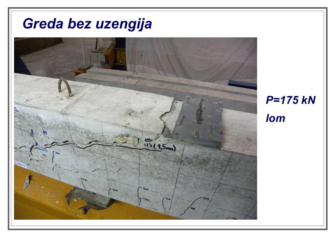 Greda bez uzengija P=175 kN lom
