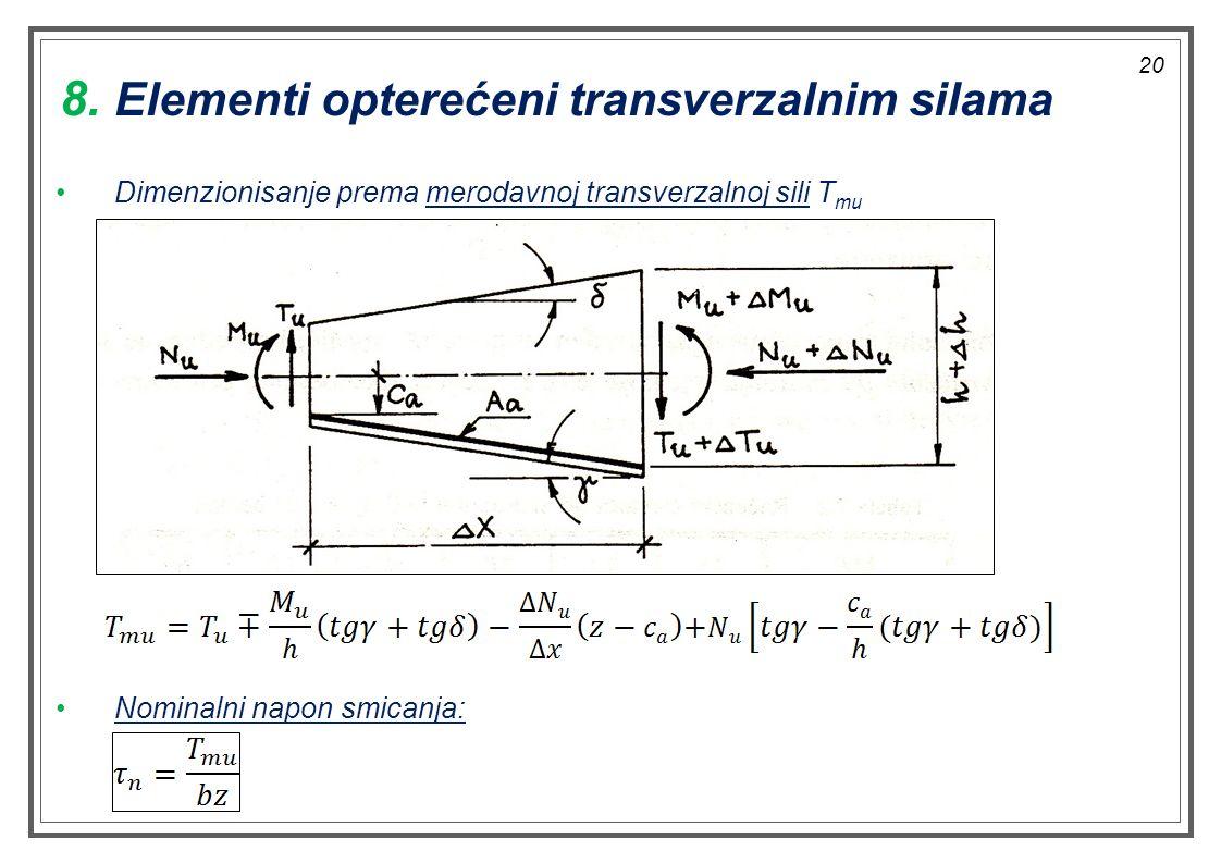 Dimenzionisanje prema merodavnoj transverzalnoj sili T mu Nominalni napon smicanja: 8. Elementi opterećeni transverzalnim silama 20