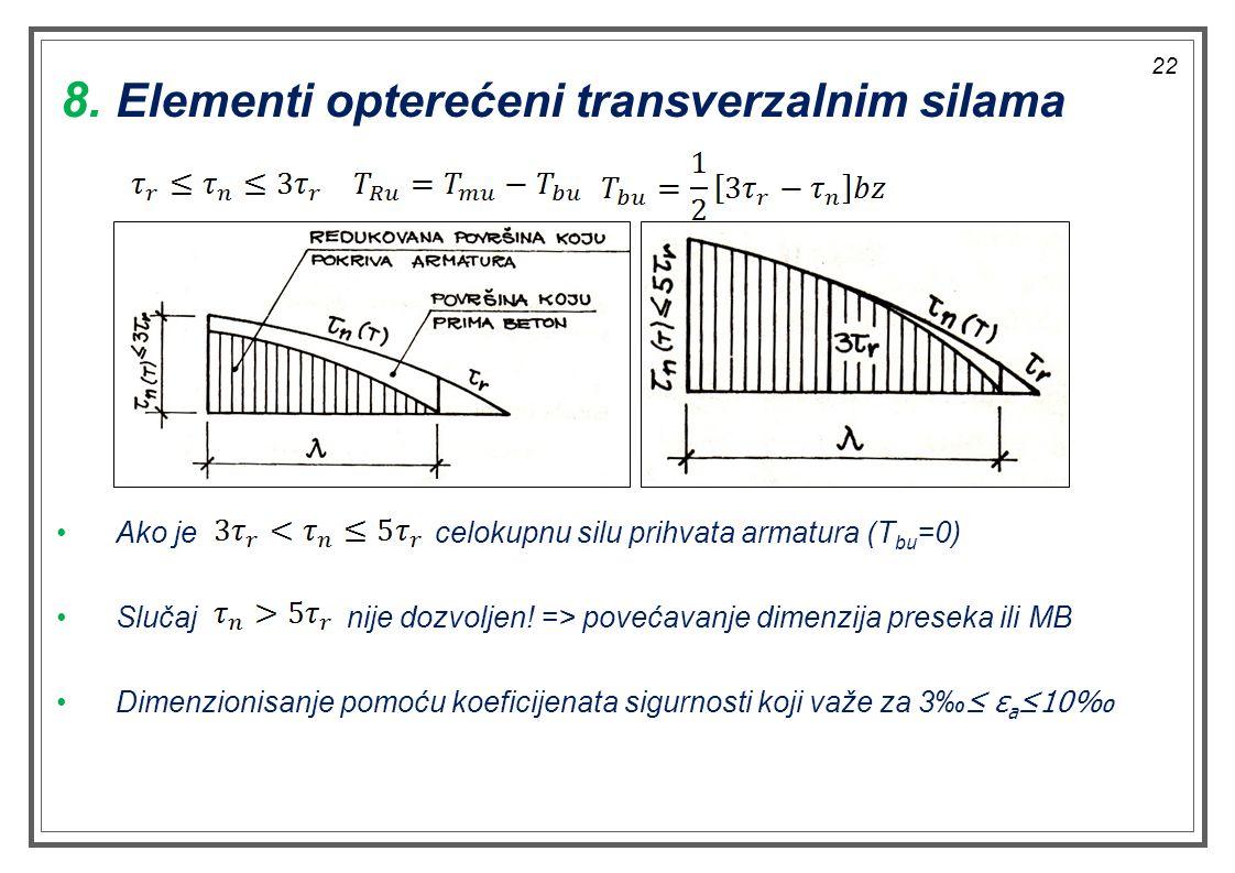 Ako je celokupnu silu prihvata armatura (T bu =0) Slučaj nije dozvoljen! => povećavanje dimenzija preseka ili MB Dimenzionisanje pomoću koeficijenata