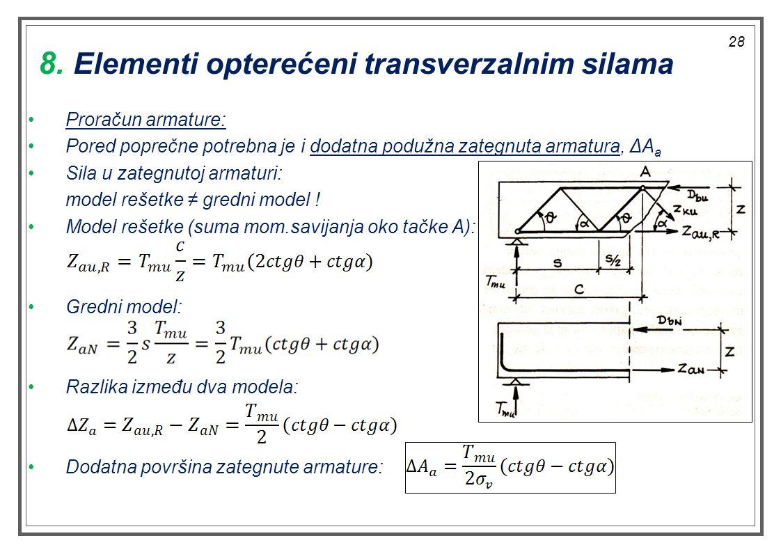 Proračun armature: Pored poprečne potrebna je i dodatna podužna zategnuta armatura, ΔA a Sila u zategnutoj armaturi: model rešetke ≠ gredni model ! Mo