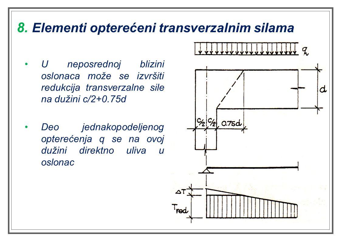 U neposrednoj blizini oslonaca može se izvršiti redukcija transverzalne sile na dužini c/2+0.75d Deo jednakopodeljenog opterećenja q se na ovoj dužini direktno uliva u oslonac 8.