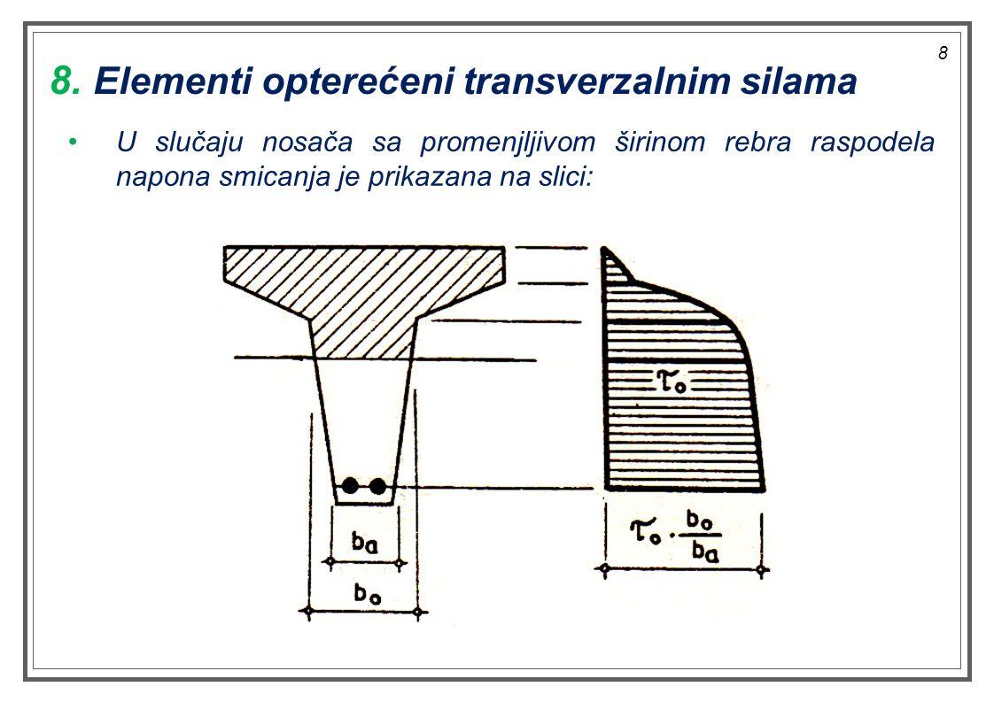 8 U slučaju nosača sa promenjljivom širinom rebra raspodela napona smicanja je prikazana na slici: 8. Elementi opterećeni transverzalnim silama