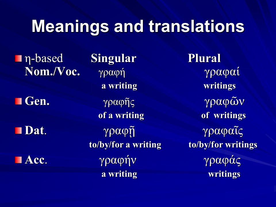 Article Singular Plural M F N M F N N.ὁ ἡ τό ο ἱ α ἱ τά G.
