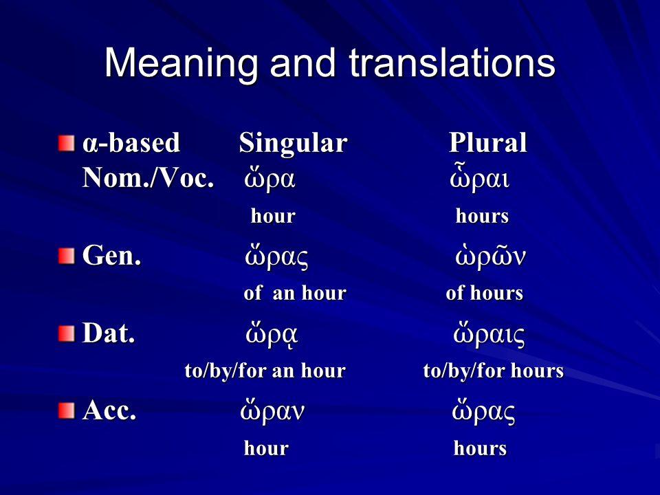 First Declension - Alpha ending ὥ ρα, -ας, ἡ hour ὥ ρα, -ας, ἡ hour Singular Plural Singular Plural Nom./Voc.