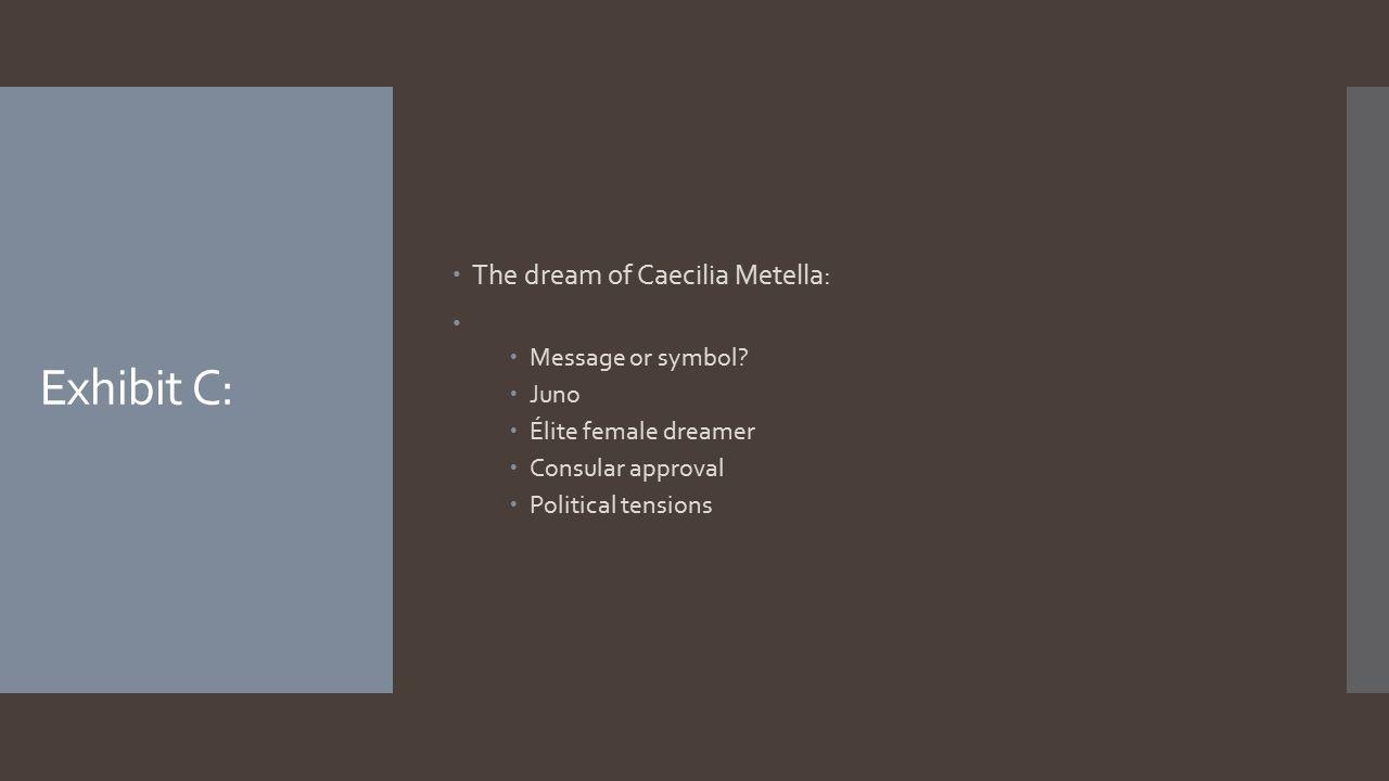 Exhibit C:  The dream of Caecilia Metella:   Message or symbol?  Juno  Élite female dreamer  Consular approval  Political tensions
