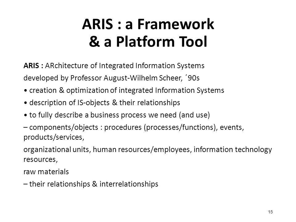 ARIS : a Framework & a Platform Tool 15 ARIS : ARchitecture of Integrated Information Systems developed by Professor August-Wilhelm Scheer, ΄90s creation & optimization of integrated Information Systems description of IS-objects & their relationships to fully describe a business process we need (and use) – components/objects : procedures (processes/functions), events, products/services, organizational units, human resources/employees, information technology resources, raw materials – their relationships & interrelationships