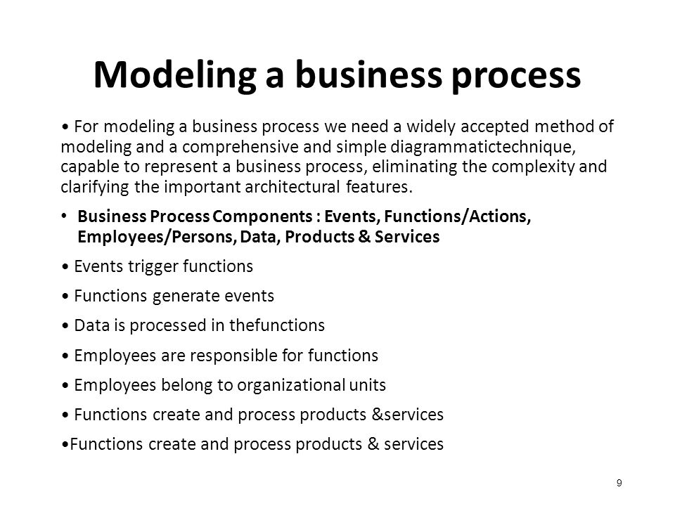 Modeling a business process 9 For modeling a business process we need a widely accepted method of modeling and a comprehensive and simple diagrammatictechnique, capable to represent a business process, eliminating the complexity and clarifying the important architectural features.