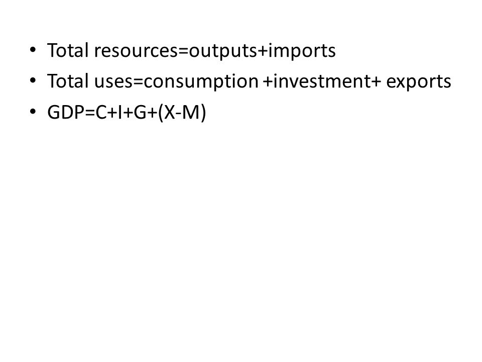 Total resources=outputs+imports Total uses=consumption +investment+ exports GDP=C+I+G+(X-M)