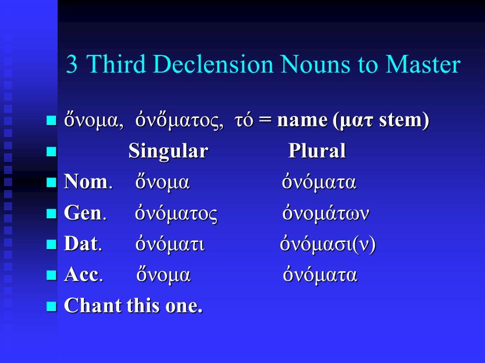 3 Third Declension Nouns to Master ὄ νομα, ὀ ν ὄ ματος, τό = name (ματ stem) ὄ νομα, ὀ ν ὄ ματος, τό = name (ματ stem) Singular Plural Singular Plural Nom.