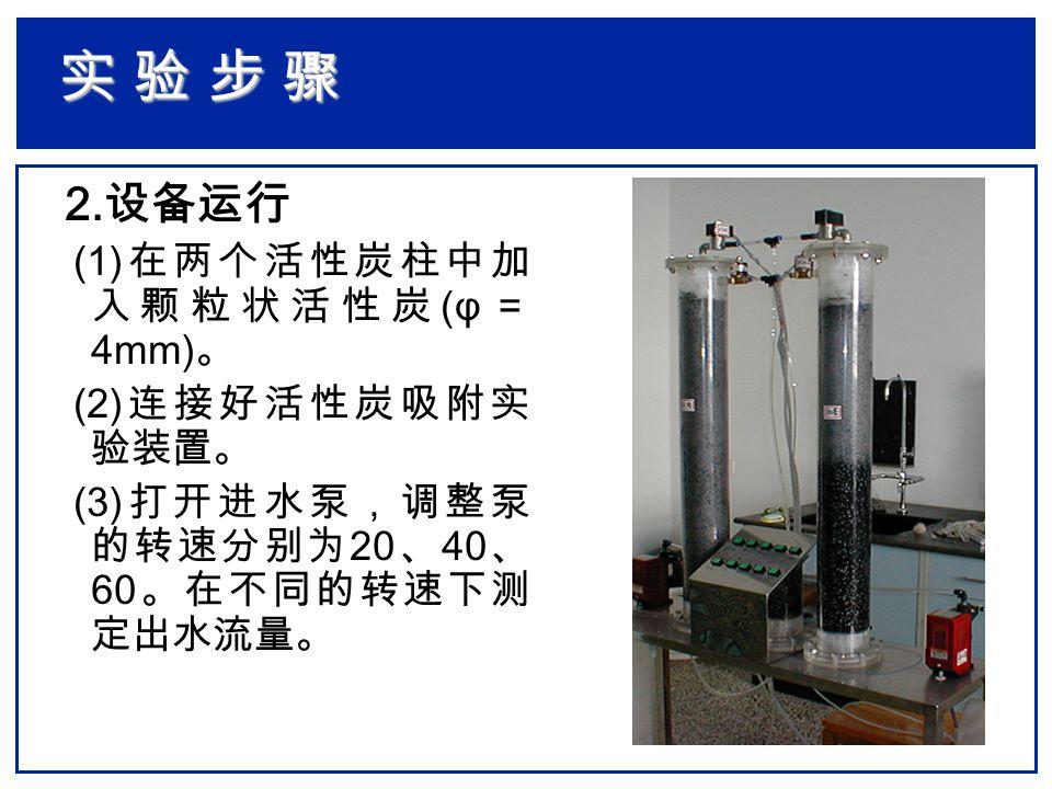 2. 设备运行 (1) 在两个活性炭柱中加 入颗粒状活性炭 (φ = 4mm) 。 (2) 连接好活性炭吸附实 验装置。 (3) 打开进水泵,调整泵 的转速分别为 20 、 40 、 60 。在不同的转速下测 定出水流量。 实 验 步 骤实 验 步 骤实 验 步 骤实 验 步 骤