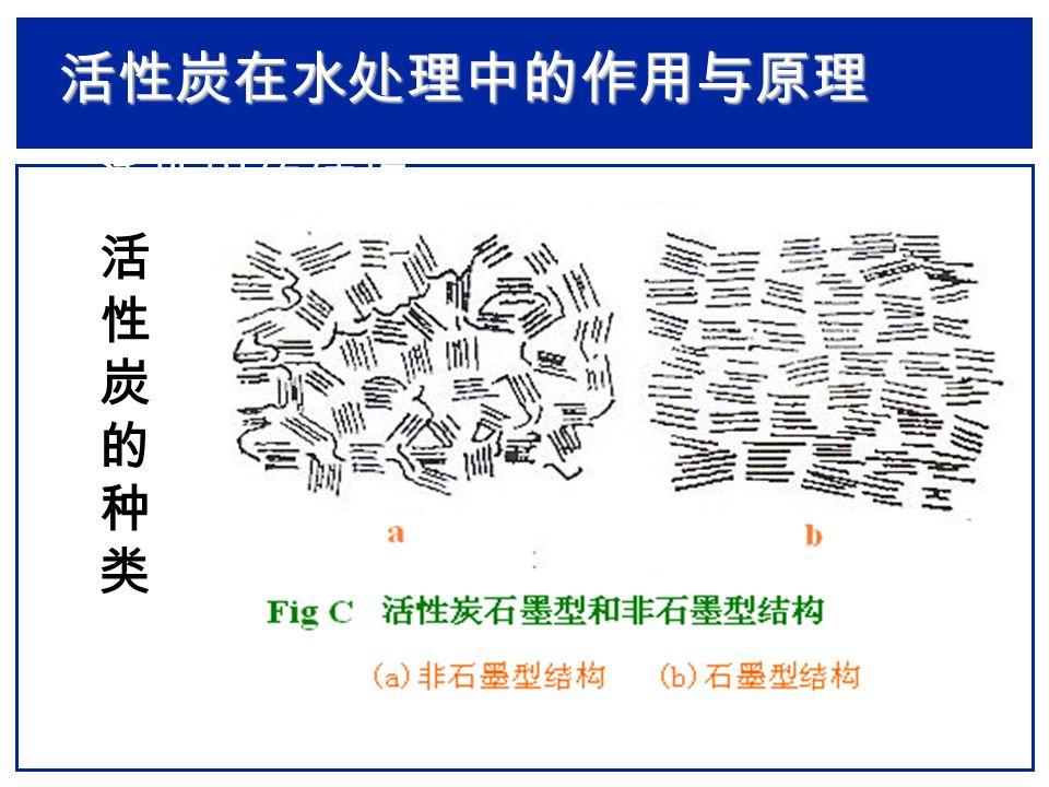 活性炭在水处理中的作用与原理 活性炭的表面组成  活性炭物理结构: 由类似石墨的碳微晶和非 结晶体按 螺层形结构 排列,由微晶间的强烈 交联形成发达的微孔结构。  活性炭表面化学:分布有大量的羧基、酚羟 基、醌型羟基、正内酯基、环氧过氧基及类比 喃酮结构基团等。