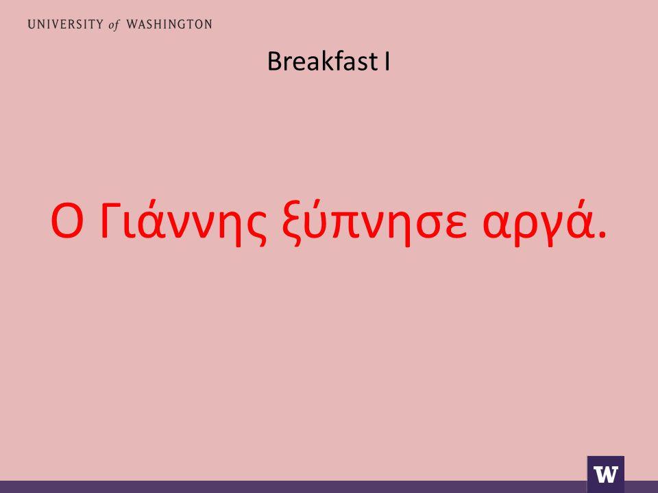 Breakfast I Ο Γιάννης ξύπνησε αργά.
