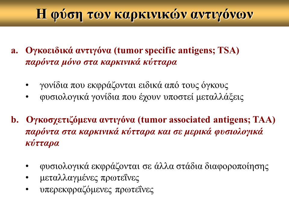 Η φύση των καρκινικών αντιγόνων a.Ογκοειδικά αντιγόνα (tumor specific antigens; TSA) παρόντα μόνο στα καρκινικά κύτταρα γονίδια που εκφράζονται ειδικά