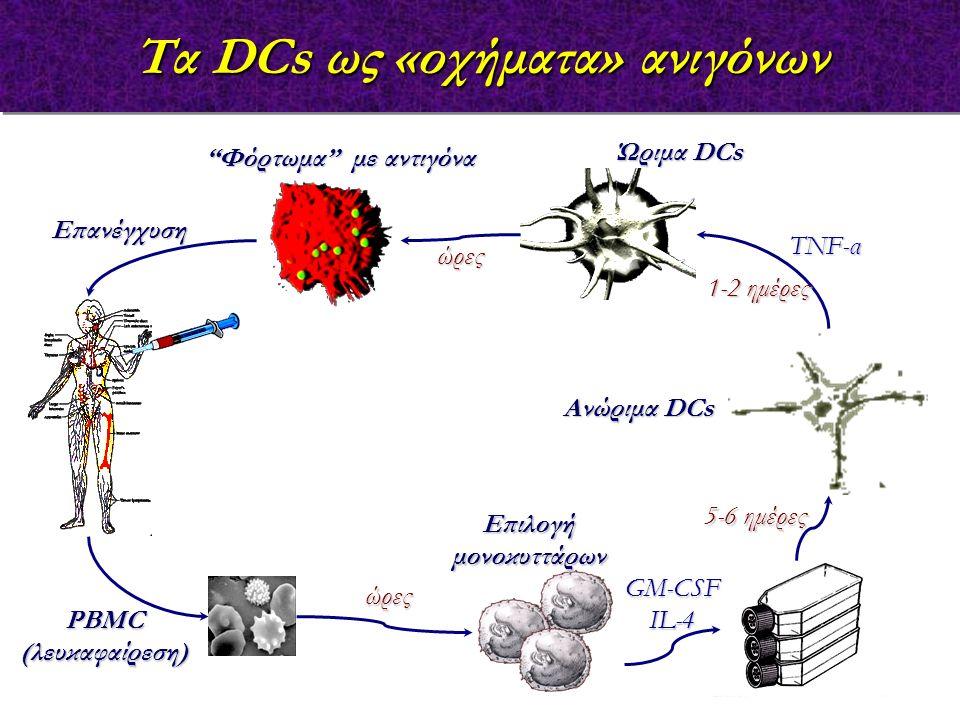 """Επιλογή μονοκυττάρων GM-CSFIL-4 Ανώριμα DCs TNF-α """"Φόρτωμα"""" με αντιγόνα Ώριμα DCs PBMC (λευκαφαίρεση) Επανέγχυση Τα DCs ως «οχήματα» ανιγόνων 5-6 ημέρ"""