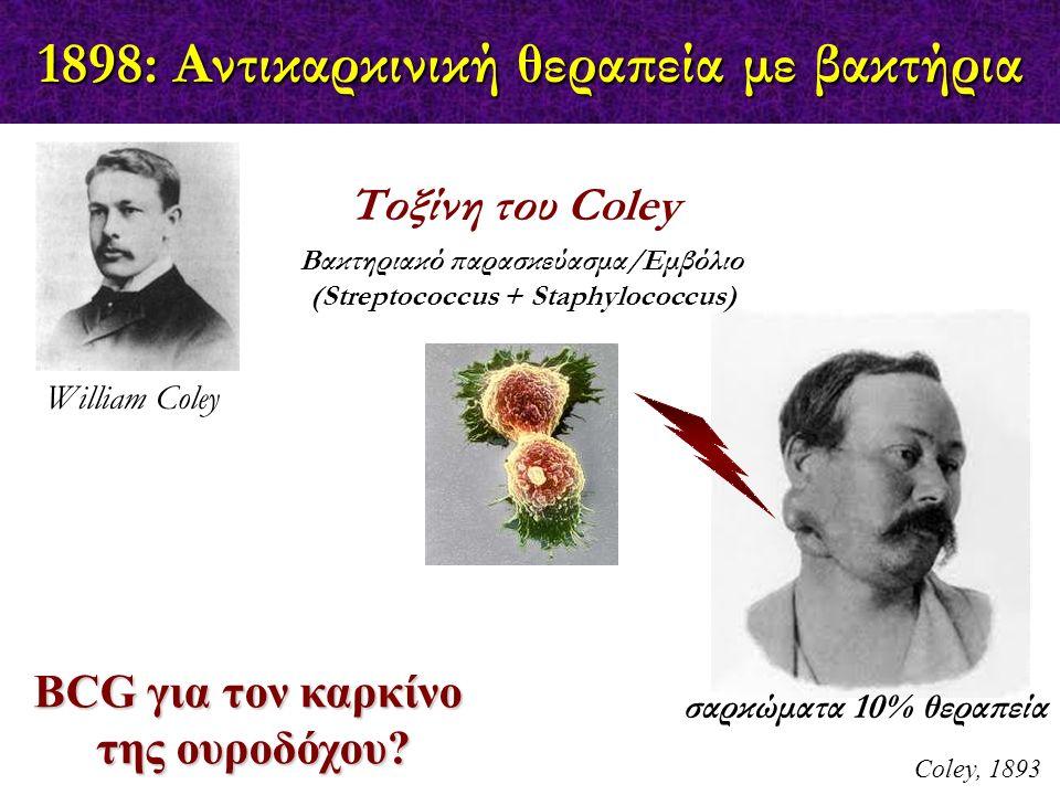 1898: Αντικαρκινική θεραπεία με βακτήρια Coley, 1893 BCG για τον καρκίνο της ουροδόχου? William Coley Τοξίνη του Coley Βακτηριακό παρασκεύασμα/Εμβόλιο