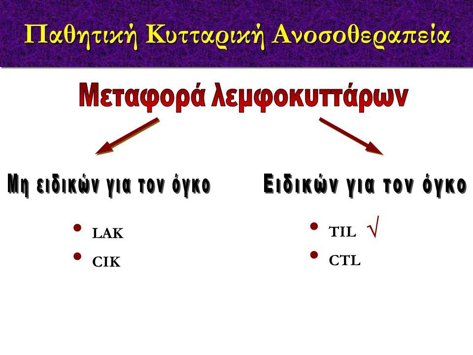 LAK CIK TIL CTL Παθητική Κυτταρική Ανοσοθεραπεία 