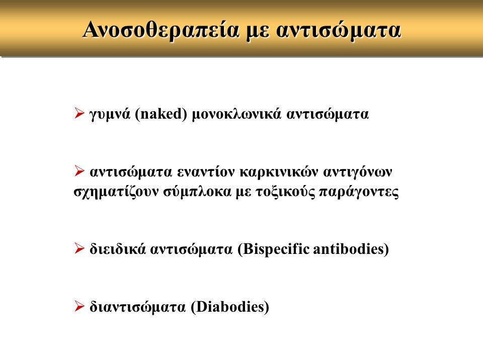  γυμνά (naked) μονοκλωνικά αντισώματα  αντισώματα εναντίον καρκινικών αντιγόνων σχηματίζουν σύμπλοκα με τοξικούς παράγοντες  διειδικά αντισώματα (B