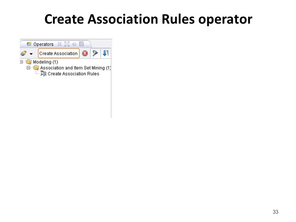 Create Association Rules operator 33