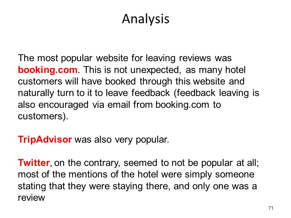 Analysis 71 The most popular website for leaving reviews was booking.com.