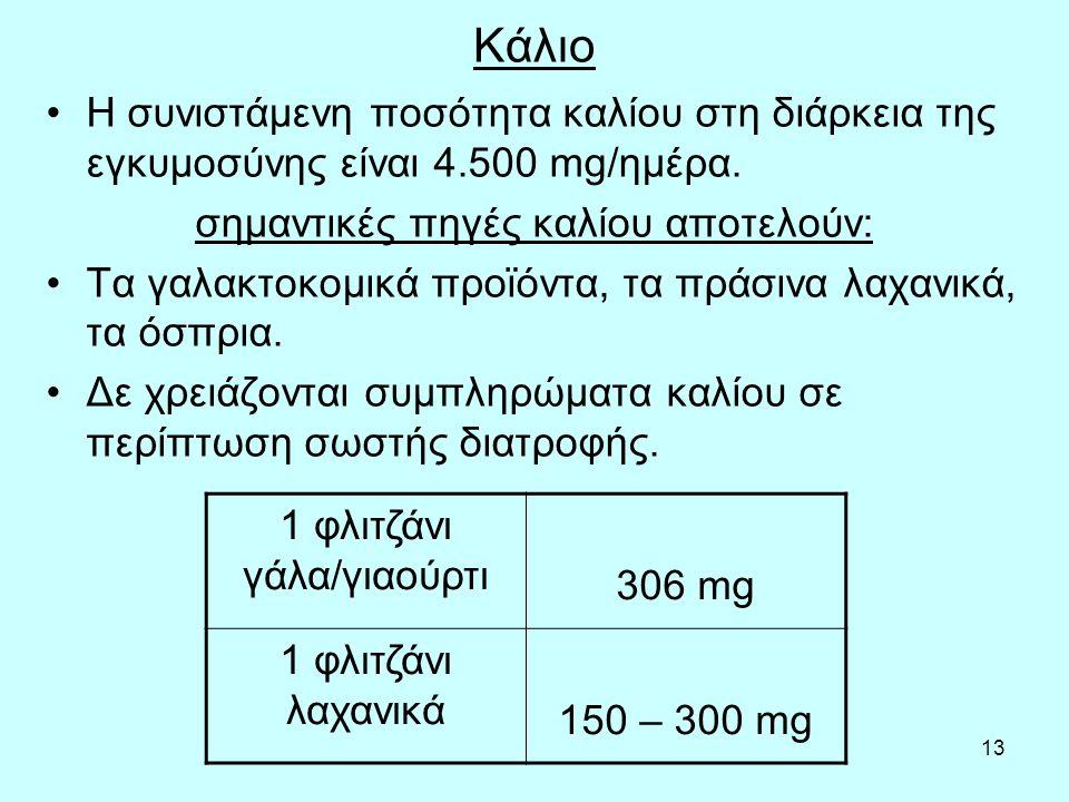 13 Κάλιο Η συνιστάμενη ποσότητα καλίου στη διάρκεια της εγκυμοσύνης είναι 4.500 mg/ημέρα. σημαντικές πηγές καλίου αποτελούν: Τα γαλακτοκομικά προϊόντα