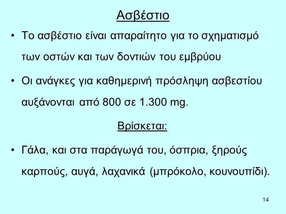 14 Ασβέστιο Το ασβέστιο είναι απαραίτητο για το σχηματισμό των οστών και των δοντιών του εμβρύου Οι ανάγκες για καθημερινή πρόσληψη ασβεστίου αυξάνονται από 800 σε 1.300 mg.