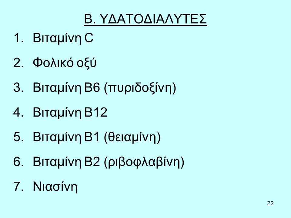 22 Β. ΥΔΑΤΟΔΙΑΛΥΤΕΣ 1.Βιταμίνη C 2.Φολικό οξύ 3.Βιταμίνη Β6 (πυριδοξίνη) 4.Βιταμίνη Β12 5.Βιταμίνη Β1 (θειαμίνη) 6.Βιταμίνη Β2 (ριβοφλαβίνη) 7.Νιασίνη