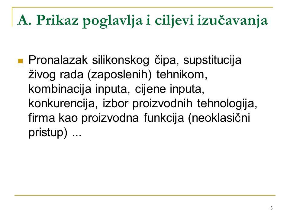 3 A. Prikaz poglavlja i ciljevi izučavanja Pronalazak silikonskog čipa, supstitucija živog rada (zaposlenih) tehnikom, kombinacija inputa, cijene inpu
